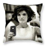 Jacky Kennedy Takes A Selfie Throw Pillow by Tony Rubino