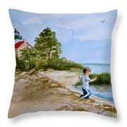 Jacob At East Point Throw Pillow by Nancy Patterson
