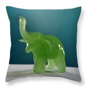 Jade Elephant Throw Pillow by Tom Druin