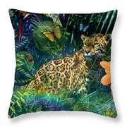 Jaguar Meadow Throw Pillow by Alixandra Mullins