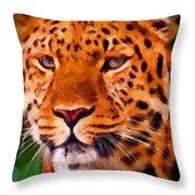 Jaguar Throw Pillow by Michael Pickett