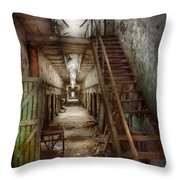Jail - Eastern State Penitentiary - Down A Lonely Corridor Throw Pillow by Mike Savad