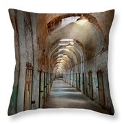 Jail - Eastern State Penitentiary - Endless Torment Throw Pillow by Mike Savad