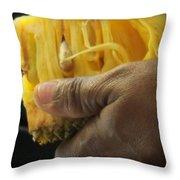 Jamaican Jack Fruit Throw Pillow by Karen Wiles