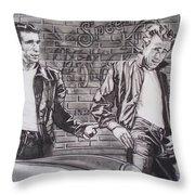 James Dean Meets The Fonz Throw Pillow by Sean Connolly