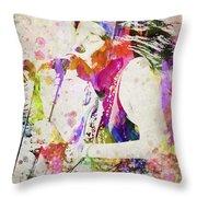 Janis Joplin Portrait Throw Pillow by Aged Pixel
