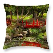 Japanese Garden - Meditation Throw Pillow by Mike Savad
