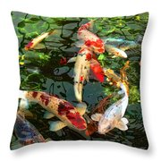 Japanese Koi Fish Pond Throw Pillow by Jennie Marie Schell