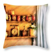 Jars - Kitchen Shelves Throw Pillow by Mike Savad