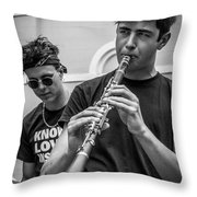 Jazz In The French Quarter Throw Pillow by Andy Crawford