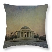 Jefferson Memorial At Dusk Throw Pillow by Terry Rowe