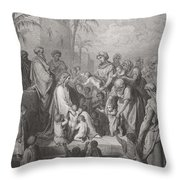 Jesus Blessing The Children Throw Pillow by Gustave Dore