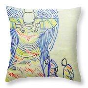 Jesus Guardian Angel Throw Pillow by Gloria Ssali