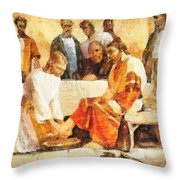 Jesus Washing Apostle's Feet Throw Pillow by Dan Sproul