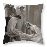 Jesus Washing The Feet Of His Disciples Throw Pillow by Albert Gustaf Aristides Edelfelt