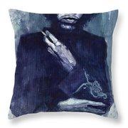 Jimi Hendrix 01 Throw Pillow by Yuriy  Shevchuk