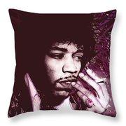 Jimi Hendrix Purple Haze Red Throw Pillow by Tony Rubino