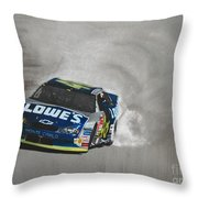 Jimmie Johnson-victory Burnout Throw Pillow by Paul Kuras