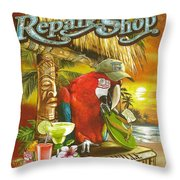 Jimmy Buffett's Flip Flop Repair Shop Throw Pillow by Desiderata Gallery