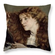 Jo the Beautiful Irish Girl Throw Pillow by Gustave Courbet
