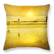 Jogging On Beach With Gulls Throw Pillow by Theresa Tahara