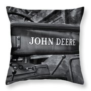 John Deere Tractor Bw Throw Pillow by Susan Candelario