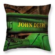 John Deere Tractor Throw Pillow by Susan Candelario