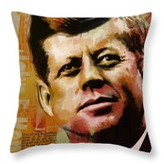 John F. Kennedy Throw Pillow by Corporate Art Task Force