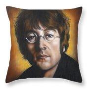 John Lennon Throw Pillow by Tim  Scoggins