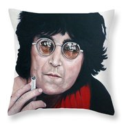 John Lennon Throw Pillow by Tom Roderick