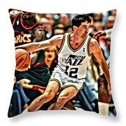 John Stockton Throw Pillow by Florian Rodarte
