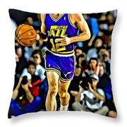 John Stockton Portrait Throw Pillow by Florian Rodarte
