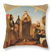 John Wycliffe Reading His Translation Of The Bible To John Of Gaunt Throw Pillow by Philip Ralley