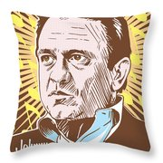 Johnny Cash Pop Art Throw Pillow by Jim Zahniser
