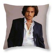Johnny Depp Throw Pillow by Dominique Amendola