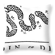 Join Or Die Throw Pillow by Anonymous