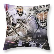 Jonathan Quick Collage Throw Pillow by Mike Oulton