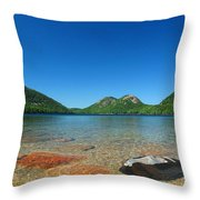Jordan Pond And The Bubbles Throw Pillow by Juergen Roth