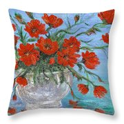 Jubilee Poppies Throw Pillow by Catherine Howard