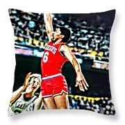 Julius Erving Throw Pillow by Florian Rodarte