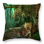 Jungle Spirit - Leopard Throw Pillow by Carol Cavalaris