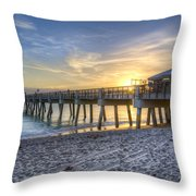 Juno Beach Pier At Dawn Throw Pillow by Debra and Dave Vanderlaan