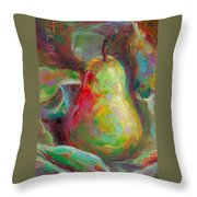 Just A Pear - Impressionist Still Life Throw Pillow by Talya Johnson
