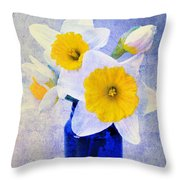 Just Plain Daffy 2 In Blue - Flora - Spring - Daffodil - Narcissus - Jonquil  Throw Pillow by Andee Design