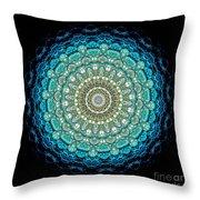 Kaleidoscope Aquamarine Bubbles Throw Pillow by Amy Cicconi