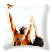 Kareem Abdul Jabbar N B A Legend Throw Pillow by Daniel Hagerman