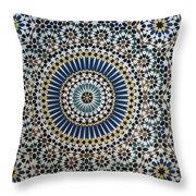Kasbah Of Thamiel Glaoui Zellij Tilework Detail  Throw Pillow by Moroccan School