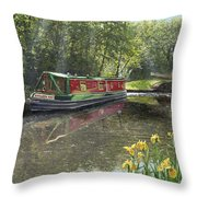 Kathleen May Chesterfield Canal Nottinghamshire Throw Pillow by Richard Harpum