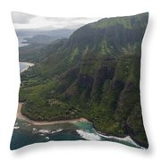 Kee Beach Along The Na Pali Coast - Kauai Hawaii Throw Pillow by Brian Harig