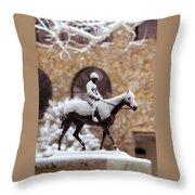 Keeneland In Winter Throw Pillow by Sid Webb